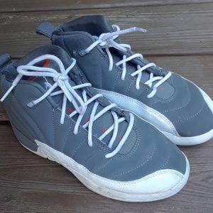Boys 3 Air Jordan gray/ orange/white sneakers